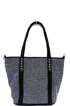 Stones Studded Fashion Tote Black