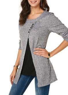 Button Detail Light Grey Long Sleeve T Shirt Long Sleeve Short Dress, Long Sleeve Shirts, Casual Hijab Outfit, Casual Outfits, Kurta Designs Women, Women's Fashion Leggings, Cheongsam Dress, Blouse Styles, Women's Fashion Dresses