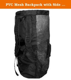 """PVC Mesh Backpack with Side Zipper. This Durable Bag is Great for Scuba Dive Gear, Snorkel Gear, Camping and the Beach - 30 """" x 16"""" XL size, 76.2 cm x 40.64 cm - Heavy duty rubber coated mesh - Full length side zipper for easy access - Professional quality backpack straps, contoured for comfort - Chest strap - Full leng th dry pocket in the back - Stock No. Armor #84."""