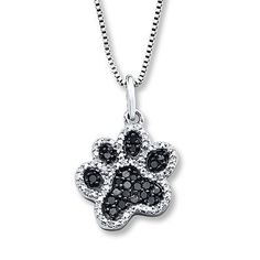 Black/White Diamonds 1/5 ct tw Paw Necklace Sterling Silver