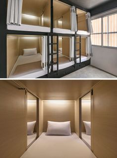 In this modern hostel in Bangkok, there are pod beds where each person has their own bed, with a curtain for privacy. Sliding doors allow you to easily chat to the person next to you.