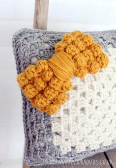 Chunky crochet bobble bow - pillow