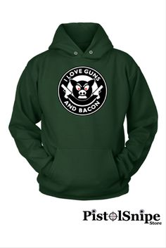 I Love Guns And Bacon Unisex Hoodie at $34.95