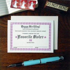 favorite sister certificate – a. favorite design