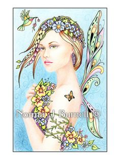 Posy - Original Fairy-Tangles™ 4x6 color pencil and ink drawing by Norma J Burnell http://www.ebay.com/itm/181326620273?ssPageName=STRK:MESELX:IT&_trksid=p3984.m1555.l2649