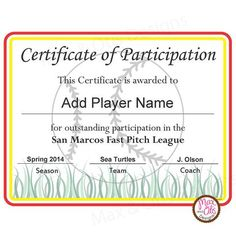 Free printable sport certificates over 100 available all free softball certificates softball certificate of participation printable pdfs with editable fields toneelgroepblik Images