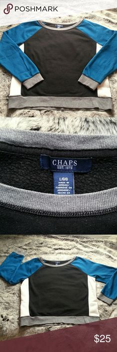 """CHAPS Crew neck sweatshirt COLOR BLOCK Crew Neck by CHAPS. LOVINGLY WORN but in great condition. Colors are Teal, black, cream, gray. Armpit to armpit measures 22"""" Size Lrg. No stains, tears, very minimal pilling/wear. Chaps Tops Sweatshirts & Hoodies"""