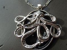 Octopus pendant Cthulhu medallion steampunk jewel by CO2Bijou
