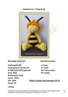 haakpatroon maja de bij by HandmadeByChantal on Etsy, €3.95