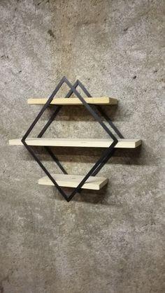 Etagère losange fer et bois : Meubles et rangements par metal-et-maison