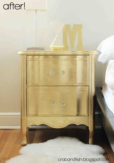 crab+fish: gilded nightstand  Maybe silver leaf? She likes the mirrored look, although I think the gold leaf would compliment her ivory bedding.