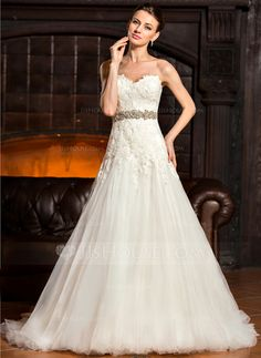 A-Line/Princess Sweetheart Sweep Train Tulle Lace Wedding Dress With Beading Sequins (002067218)