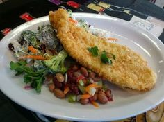 Breaded Mediterranean Fish Fillets, Hawaiian Salad & Italian Mixed Bean Salad - Nonna's Cucina Ristorante / Bernardino's Cafe Bakery - Google+ Hawaiian Salad, Fresh Coffee, Bean Salad, Bakery, Beans, Fish, Chicken, Ethnic Recipes, Google