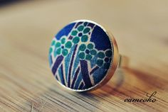 Vintage Fabric Covered Ring Adjustable
