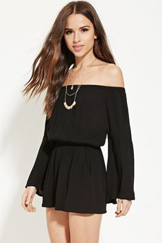 A woven gauze romper with long trumpet sleeves, an off-the-shoulder neckline, elasticized trim, slanted front pockets, and a self-tie scoop back. (Medium)