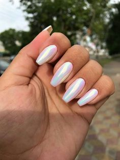 Unhas, Esmaltes, Nails, unhas pintadas, unhas decoradas - Acrylic Nails For Summer - Nagel Summer Acrylic Nails, Best Acrylic Nails, Holographic Nails Acrylic, Acrylic Nails Chrome, Acrylic Nails For Holiday, Painted Acrylic Nails, Galaxy Nails, Acrylic Nail Designs, Acrylic Art