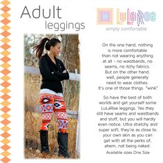"""The best leggings in town! LuLaRoe leggings.  Super soft.  You won't want to take them off.  Soon you'll have one for every day of the week.  One size fits most.  They also come in Tall & Curvy.  To get one today, go to http://lularoe.com/shop and enter """"STEFANIMCCUNE"""" for free shipping."""
