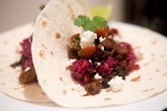 Chipotle Beef Tacos with Cabbage and Carrot Slaw, Black Beans and Tomato