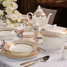 Setul de veselă cu 38 piese Gold Net este cadoul de nuntă perfect. Sugar Bowl, Bone China, Bowl Set, Tea Pots, Table Settings, Table Decorations, Tableware, Gold, Google Search