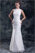 2014 White Mermaid/ Trumpet Bateau Summer Floor-length Satin/Lace Wedding Dresses -Wedding & Events-Wedding Dresses-Mermaid/Trumpet Wedding Dresses