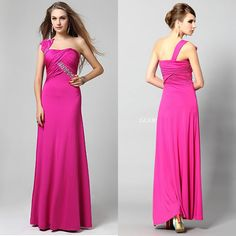 Hot Pink One Shoulder Long Evening Gowns Special Occasion Prom Dresses SKU-122516