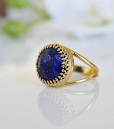 15% OFF SALE - Lapis lazuli ring, gold ring, blue ring, gemstone ring, semi precious ring, vintage ring, september birthstone