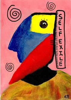 self exile e9Art ACEO Abstract Portrait Cubism Outsider Folk Art Brut Painting Figurative
