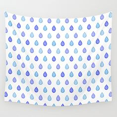 """""""Blue raindrops"""" Wall Tapestry by Savousepate on Society6 #walltapestry #homedecor #pattern #zentangle #raindrops #rain #drops #water #white #blue #navyblue #turquoise #aquablue"""
