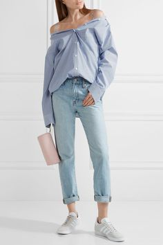 adidas Originals - Gazelle Suede-trimmed Primeknit Sneakers - Light gray - US
