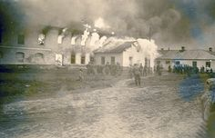 The burning of the synagogue in Kotzk. This 1941 photos shows the Jewish synagogue on fire. These pictures were attached to photos in which German soldiers documented the collection of gravestones from the Kotzk cemetery, apparently for the purpose of construction or paving roads. The phenomenon of torching synagogues in Poland was well-known, but there is hardly any documentation of these incidents