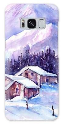 Swiss Mountain cabins in snow Galaxy Case by Sabina Von Arx Mountain Cabins, Winter Landscape, Winter Scenes, Beautiful Paintings, Painting Techniques, Colorful Backgrounds, Fine Art America, Original Paintings, My Arts