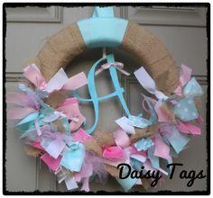Burlap Ribbon Wreath in Aquas & Pinks for new baby hospital door, front door, nursery, baby shower