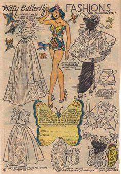 Katy Keene paper doll butterfly / eBay* 1500 free paper dolls The International Paper Doll Society Twitter #QuanYin5 Arielle Gabriel artist *