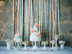 Blue and coral sweet table via Wedding Sparrow blog www.weddingsparrow.com