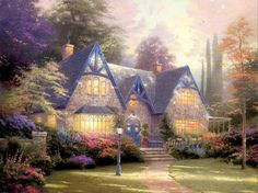 Thomas Kinkade painting of cute house surrounded by flowers and trees. Nice lamp post in front yard