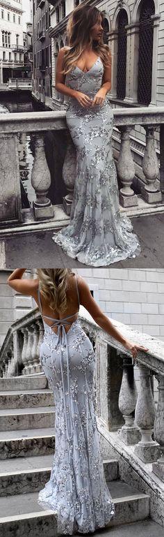 Prom Dresses,Long Prom Dresses,Prom Dresses 2018,Sheath/Column Formal Dresses,V-neck Evening Party Dresses Tulle