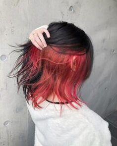 Under Hair Dye, Under Hair Color, Hidden Hair Color, Two Color Hair, Hair Color Streaks, Hair Dye Colors, Hair Color For Black Hair, Red Black Hair, Short Hair With Color