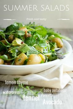 A fresh tasting potato salad with avocado, pancetta and watercress. This is a great salad for backyard get togethers and picnics. Avocado Recipes, Healthy Salad Recipes, Lunch Recipes, Cooking Recipes, Summer Recipes, Appetizer Recipes, Appetizers, Sin Gluten, Side Salad