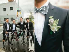 these groomsmen look fantastic!!  Love the charcoal palette with the polka-dot bow-tie and succulent boutenierre