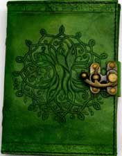 "Green Leather Embossed Journal with a Tree of Life Design with Handmade Linen Parchment Paper. Comes with a metal lock closure. 168 pages. 5"" x 7""."