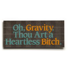 Oh Gravity Humor by Artist Drew Patterson Wood Sign