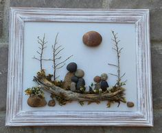 FREE SHIPPING This piece will be made to order on a hand painted backboard. Pebble Family of five gathered together in the outdoors sitting on a log surrounded by beautiful trees under the sun. This would be such a special gift for any occasion. All materials are in their natural state (pebbles, rocks, dried moss, twigs). The frame is open, painted in acrylics, and distressed, measuring 8.5x11. It is ready to hang on a wall. I love special requests...and dont forget to check out my shop…