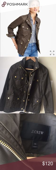 HOST PICK . PRICE IS FIRM Gorgeous. Brand new sans tags. Never worn ever. It is too small. Sigh. Petite small. Mossy brown. J. Crew Jackets & Coats Utility Jackets