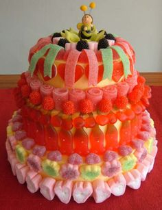 A really cool birthday cake! We just can't get enough of those sour stripes! Candy Cakes, Best Candy, Candy Bouquet, Mini Desserts, Macaron, Creative Food, Cake Art, Cake Decorating, Sweet Treats