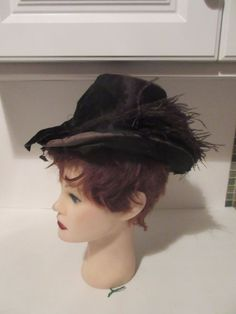 1880's Womens Tall Riding Hat Ostrich Feathers