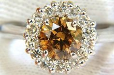 #Jewelry 2.01ct Natural Fancy Orange Brown Diamond Cluster Halo Ring