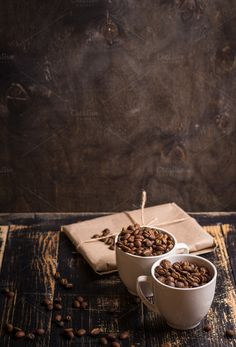 Cups with coffee beans background by its_al_dente on Blackboard Menu, Aeropress Coffee, Fresh Roasted Coffee, Sweet Coffee, Coffee Branding, Blended Coffee, Coffee Roasting, Chocolate Coffee, Coffee Recipes
