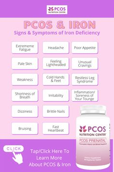 Nutrition Information, Diet And Nutrition, Pcos Fertility, Pcos Pregnancy, Foods With Iron, Pcos Symptoms, Healthy Lifestyle Habits, Iron Deficiency, Polycystic Ovary Syndrome
