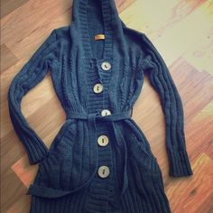 Long hooded sweater jacket w/ waist tie Great winter/fall sweater. Long with tie waist and hips. Material is like a thick cable knit sweater. Size small. Gently worn but in good condition. Not anthropologie just have that for visibility! Anthropologie Sweaters