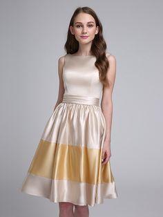Lanting Bride® Hasta la Rodilla Satén Estirado Vestido de Dama de Honor Corte en A Bateau con Cinta / Lazo - USD $89.99